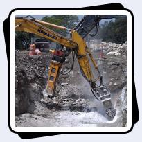Rock Excavation Project next to Philadephia Art Museum in hard limestone