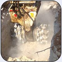 AQ-4XL on Hitachi EX470 - Trenching 100MPa Limestone