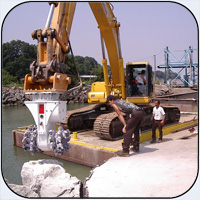 AQ-4 on PC400 Rock Dredging on Lake Erie.