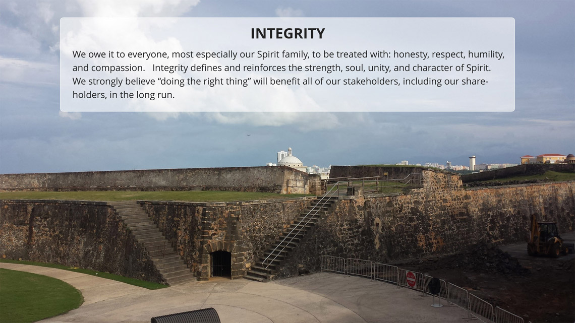 Integrity defines and reinforces the strength, soul, unity and character of Spirit Services.